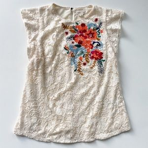 Anthropologie Cream lace cap sleeve top floral xs